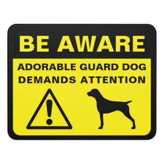 Letrero Para Puerta Advertencia divertida alemana del perro guardián