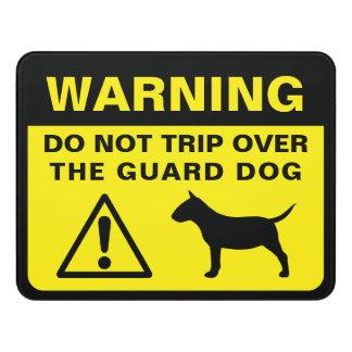 Letrero Para Puerta Advertencia divertida miniatura del perro guardián