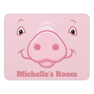 Letrero Para Puerta Cara rosada feliz linda del cerdo
