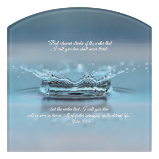Letrero Para Puerta Del agua azul de la vida verso Juan de la biblia