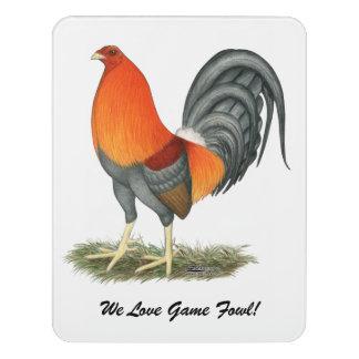 Letrero Para Puerta Gallo del rojo azul del gallo de pelea