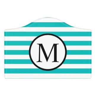Letrero Para Puerta Monograma simple con las rayas horizontales de la