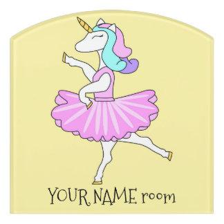Letrero Para Puerta Muestra de la puerta de la bailarina del unicornio