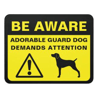 Letrero Para Puerta Muestra divertida del perro guardián de la silueta
