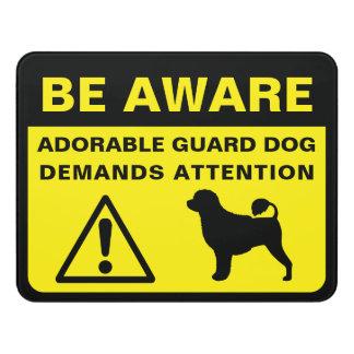Letrero Para Puerta Muestra divertida portuguesa del perro guardián