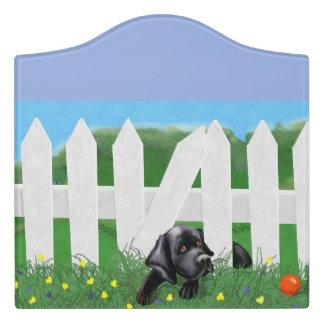 Letrero Para Puerta Muestra negra del sitio de Labrador