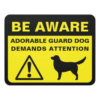 Letrero Para Puerta Muestra tocante del perro guardián del perro