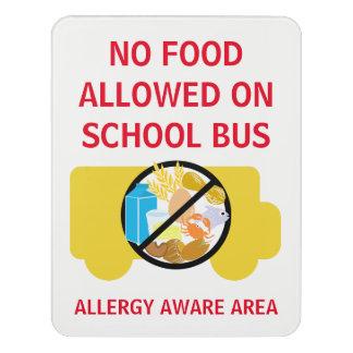 Letrero Para Puerta Ninguna comida permitida en la alergia del autobús
