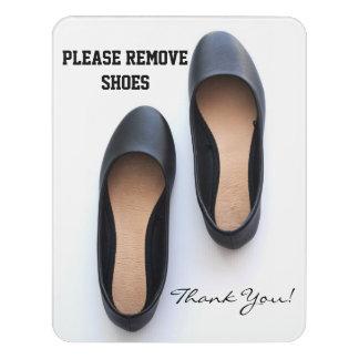Letrero Para Puerta Quite por favor los zapatos