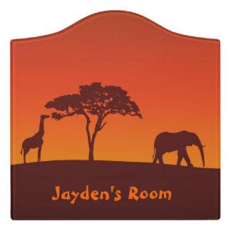 Letrero Para Puerta Silueta africana del safari - muestra del sitio