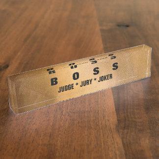 Letreros de cobre divertidos del escritorio de