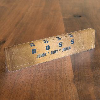 Letreros divertidos del escritorio del cobre y de