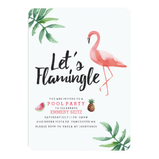 Let's Flamingle Pool Party Invitation Invitación 12,7 X 17,8 Cm