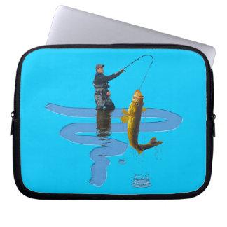 Leucomas que pescan el regalo que se divierte del  funda computadora