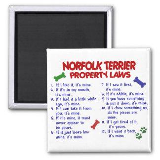 Leyes 2 de la propiedad de NORFOLK TERRIER Imán Cuadrado