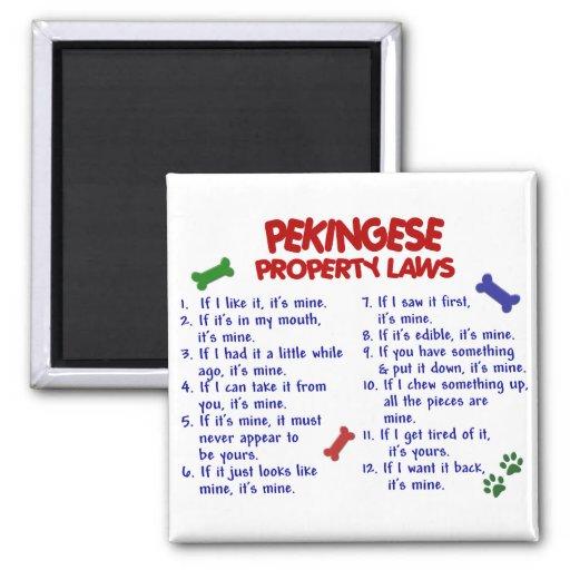 Leyes 2 de la propiedad de PEKINGESE Imán Para Frigorifico