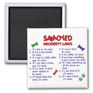 Leyes 2 de la propiedad del SAMOYEDO Imán Cuadrado