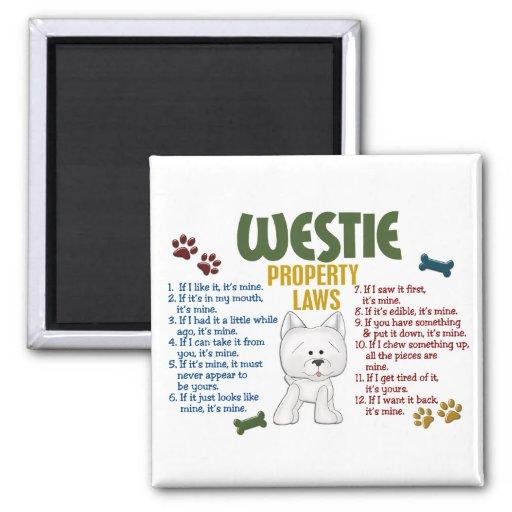 Leyes 4 de la propiedad de Westie Imanes Para Frigoríficos