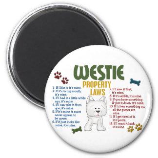 Leyes 4 de la propiedad de Westie Imán Redondo 5 Cm