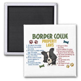 Leyes 4 de la propiedad del border collie imán cuadrado