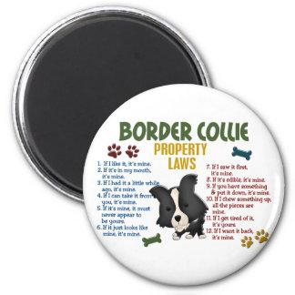 Leyes 4 de la propiedad del border collie imán redondo 5 cm