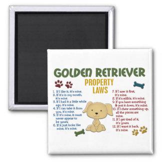 Leyes 4 de la propiedad del golden retriever iman para frigorífico