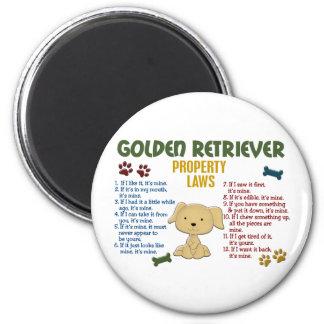 Leyes 4 de la propiedad del golden retriever imán de frigorifico