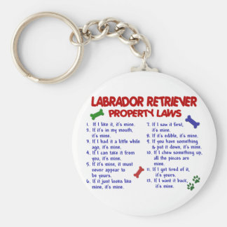 Leyes de la propiedad del LABRADOR RETRIEVER Llavero Redondo Tipo Chapa