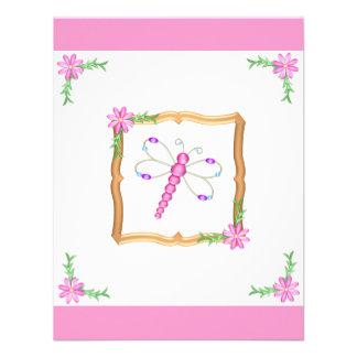 Libélula de las flores rosadas y blancas del cumpl anuncios personalizados