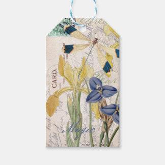 Libélula e iris etiquetas para regalos