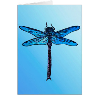 Libélula japonesa del vintage, azul del zafiro tarjeta pequeña