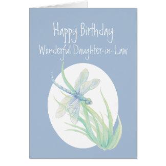 Libélula maravillosa del cumpleaños de la nuera tarjeta de felicitación