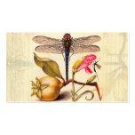 Libélula, pera, clavel, e insecto plantilla de tarjeta personal