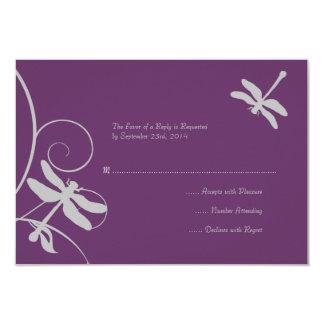 Libélula púrpura y de plata que casa RSVP Invitación 8,9 X 12,7 Cm