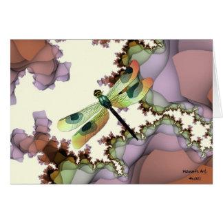 Libélula y tarjeta de cumpleaños de los fractales