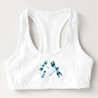 Libélulas azules bonitas con su del nombre parte sujetador deportivo