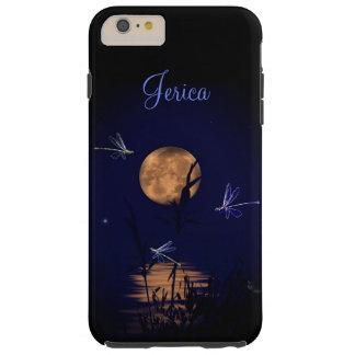 Libélulas personalizadas debajo de la Luna Llena Funda Resistente iPhone 6 Plus