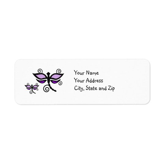 Libélulas púrpuras y negras en etiqueta de etiqueta de remite