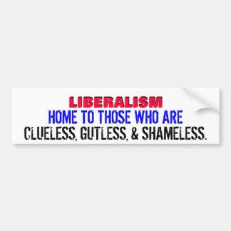 LIBERALES. ¡DESORIENTADO, GUTLESS, Y DESVERGONZADO PEGATINA PARA COCHE