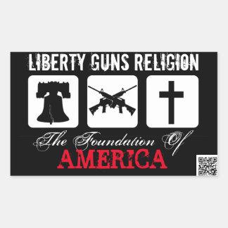Libertad, armas, pegatina de la religión