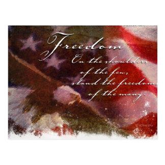 Libertad-Bandera y postal de Eagle