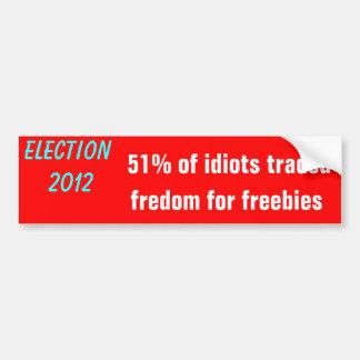 Libertad comercial de la elección 2012 para los re etiqueta de parachoque