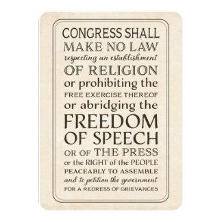 Libertad de prensa - texto de la Primera Enmienda Invitación 11,4 X 15,8 Cm