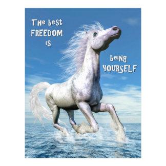 Libertad del caballo blanco - 3D rinden Folleto 21,6 X 28 Cm