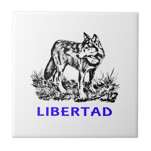 Libertad - Lobo en la naturaleza Azulejo Cerámica