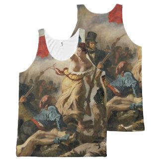 Libertad que lleva el tanque del enfoque de la camiseta de tirantes con estampado integral
