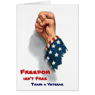 Libertad y tarjeta patriótica de los veteranos