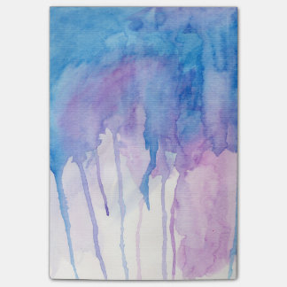 Libreta azul y púrpura de la acuarela el | notas post-it®