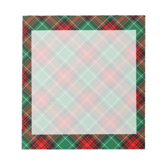 Libreta roja y verde retra de la tela escocesa del