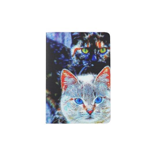 Libro curioso colorido del pasaporte de los gatos portapasaportes